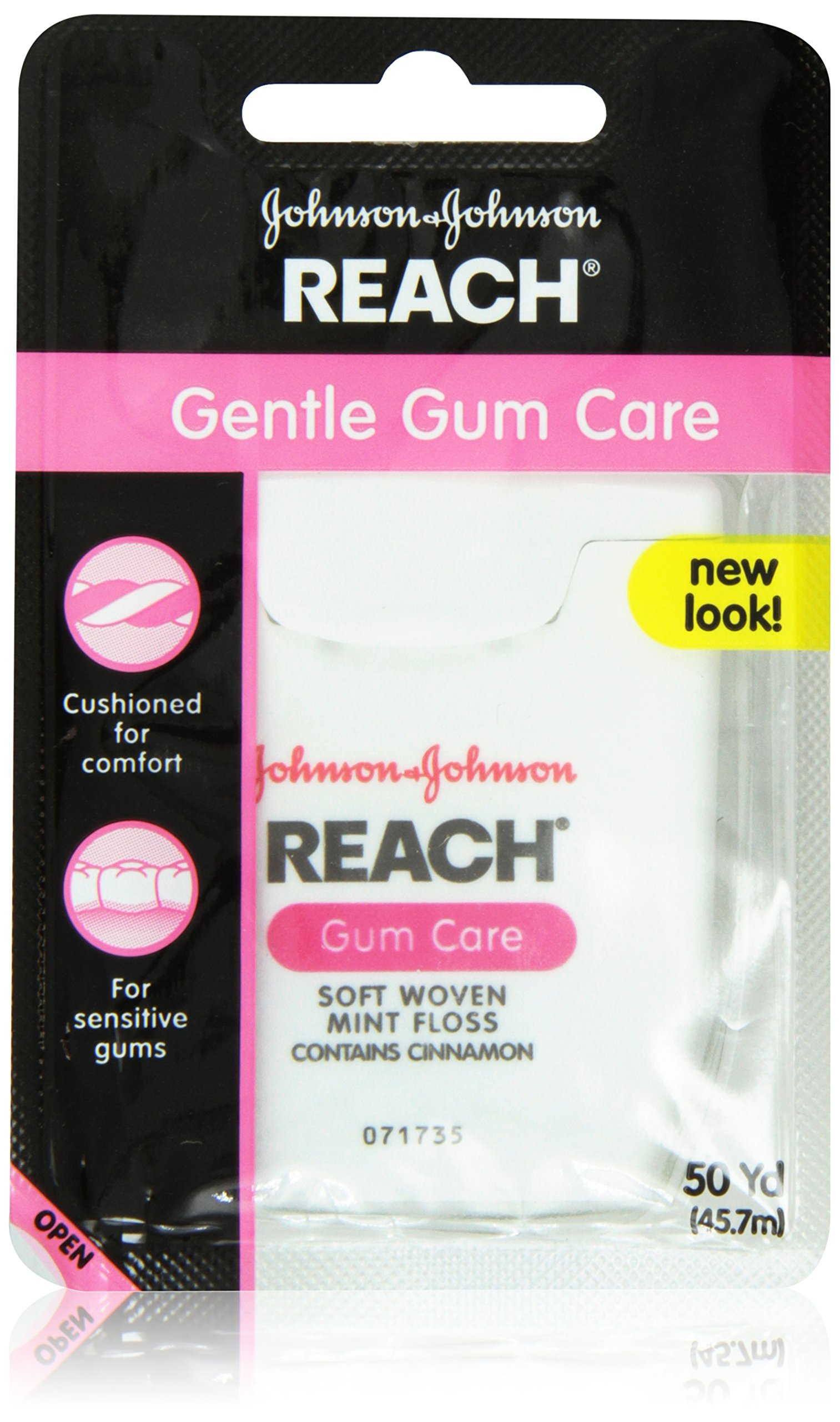 Reach Gentle Gum Care, Woven Mint Dental Floss With Hint of Cinnamon Flavor, 50 Yard Dispensers (Pack of 12)