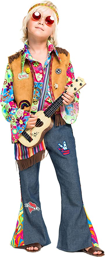 chiber Disfraces Disfraz de Hippie Deluxe para Niño (Talla 4 (3-4 ...