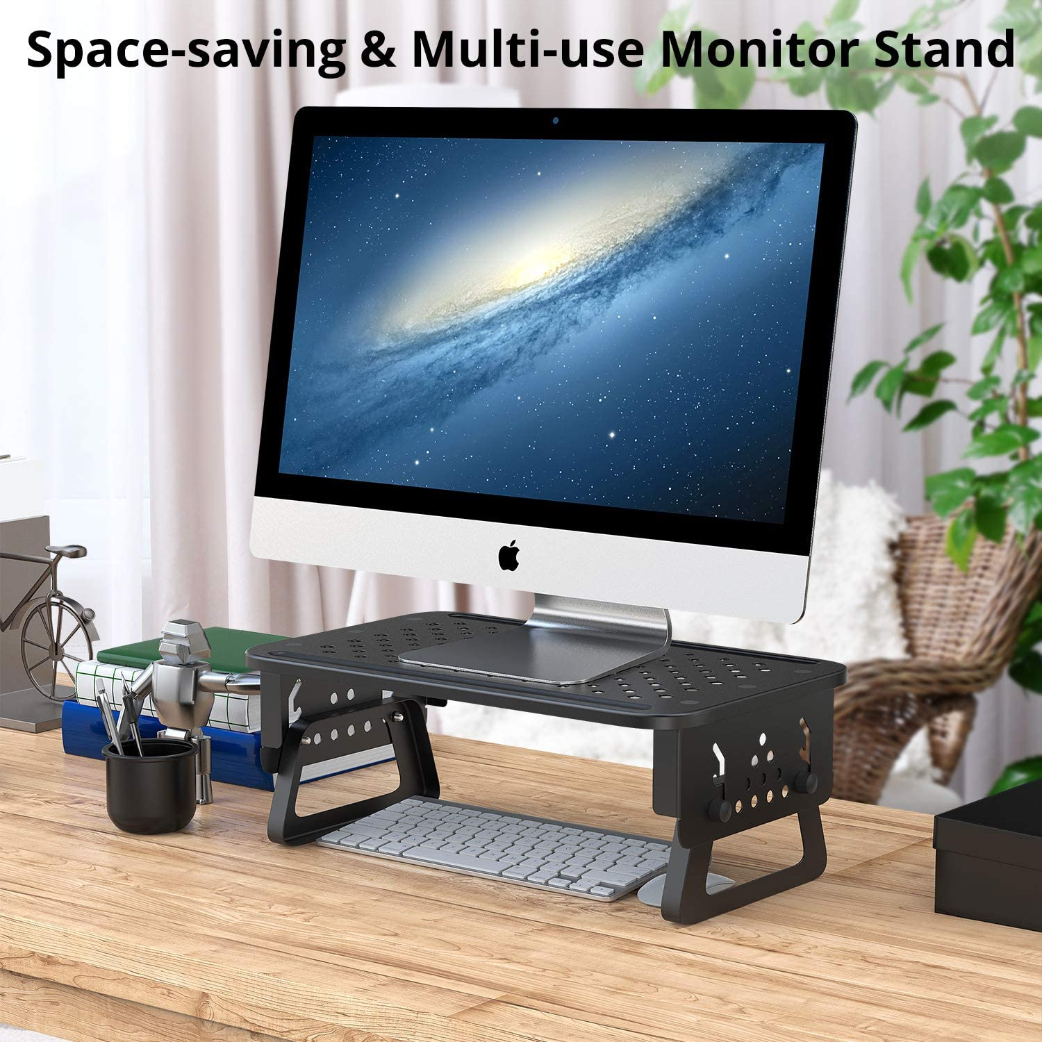 ATUMTEK Monitor Stand Riser [Aircraft Grade Aluminium] 3 Height Adjustable Metal Monitor Desk Stand with Mesh Platform for Computer Screen Laptop iMac PC Printer Small Projector and More - Black