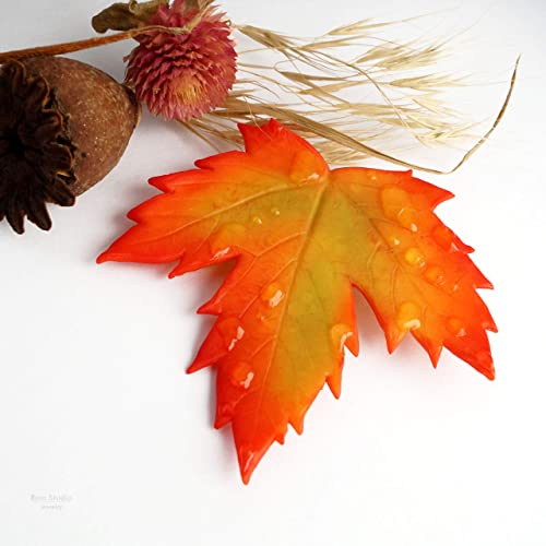 e06116f7c Image Unavailable. Image not available for. Color: Maple Leaf Pin Yellow  Orange Red Realistic Fall leaves Raindrops Brooch Autumn ...
