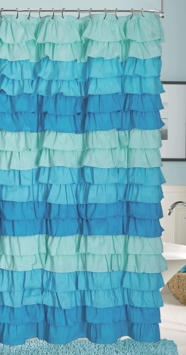 Blue ruffled shower curtains - Amazon Com Dainty Home Venezia Ruffled Shower Curtain 72 By 72 Inch Blue Home Kitchen