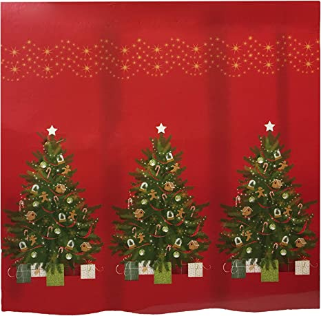 Christmas Traditional Tree Fabric Shower Curtain Bathroom Decoration Festive New