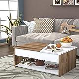 Bravo Melamine Center Table - White and Brown, H40 x W60 x D90 cm (Multi Color)