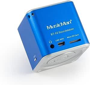 MusicMan TXX3808 Mini Wireless Soundstation BT-X2 (MP3 Player, Bluetooth) - Blue