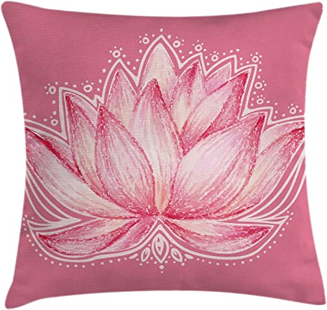 Ambesonne Floral Throw Pillow Cushion Cover Lotus Flower Meditation Yoga Plant Petal Print Decorative Square Accent Pillow Case 24 X 24 Baby Pink Cream Home Kitchen