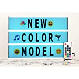 Color Changing LED Cinema Light Box with 210 Letters - A4 Size DIY Light Bar Sign with Marquee Letters, Home/Party/Shop Decoration, Colorful Numbers/Letters/Emojis, Valentine's Day Surprise