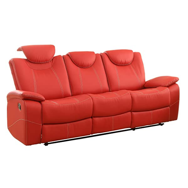 Homelegance Reclining Sofa Faux Leather, Red