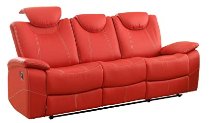 Amazon.com: Homelegance Reclining Sofa Faux Leather, Red: Kitchen ...