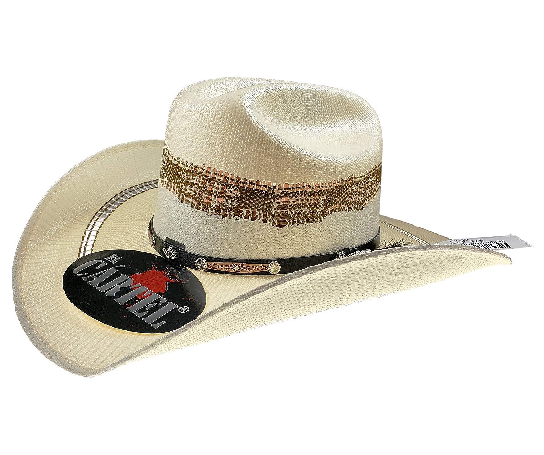 El General Mens Western Hat Sombrero 100X El Cartel Bangora Ivory//Brown