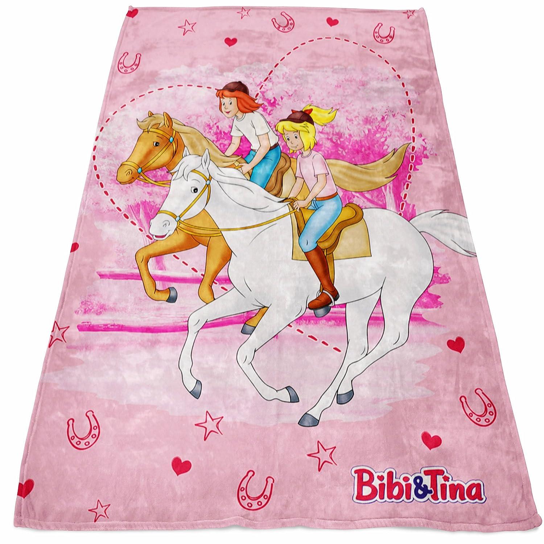 BERONAGE Bibi und Tina Decke Freunde Rosa 130 cm x 170 cm Fleecedecke Blocksberg Pferde Sabrina Amadeus Kuscheldecke zur Bettw/äsche