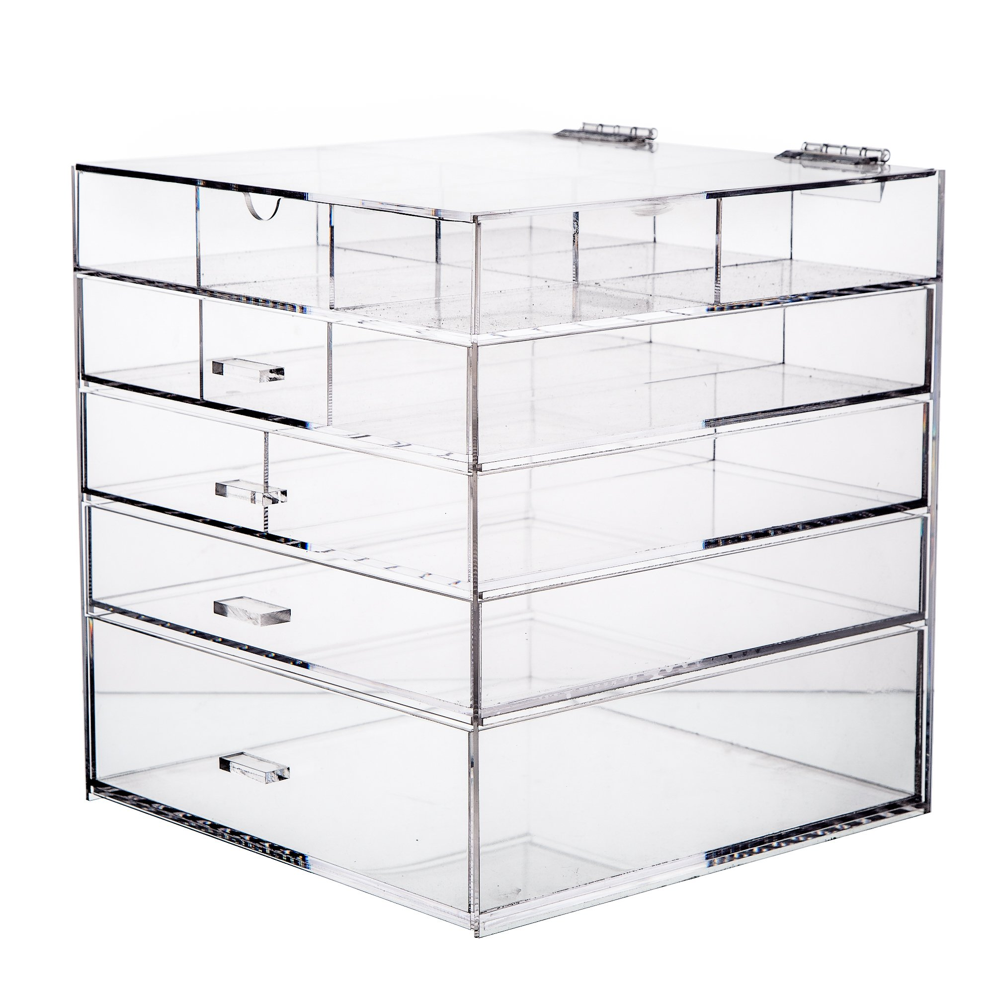 "CDM product Cq acrylic Large 5 Tier Drawer Acrylic Makeup Organizer 10""x10""x11"",Pack of 1 big image"