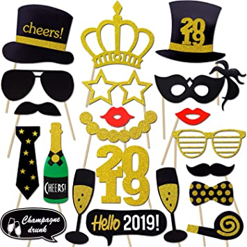 Amazoncom 2019 New Years Photo Booth Props Kit21pcs Konsait