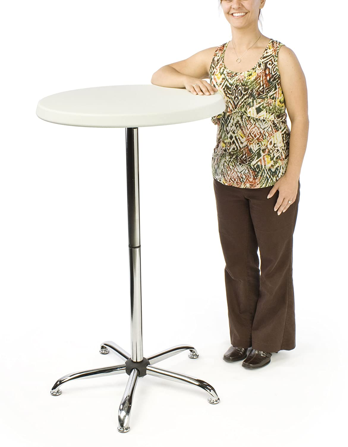 Amazoncom Displaysgo Inch Tall Round Pub Table With Plastic - Tall round cocktail table