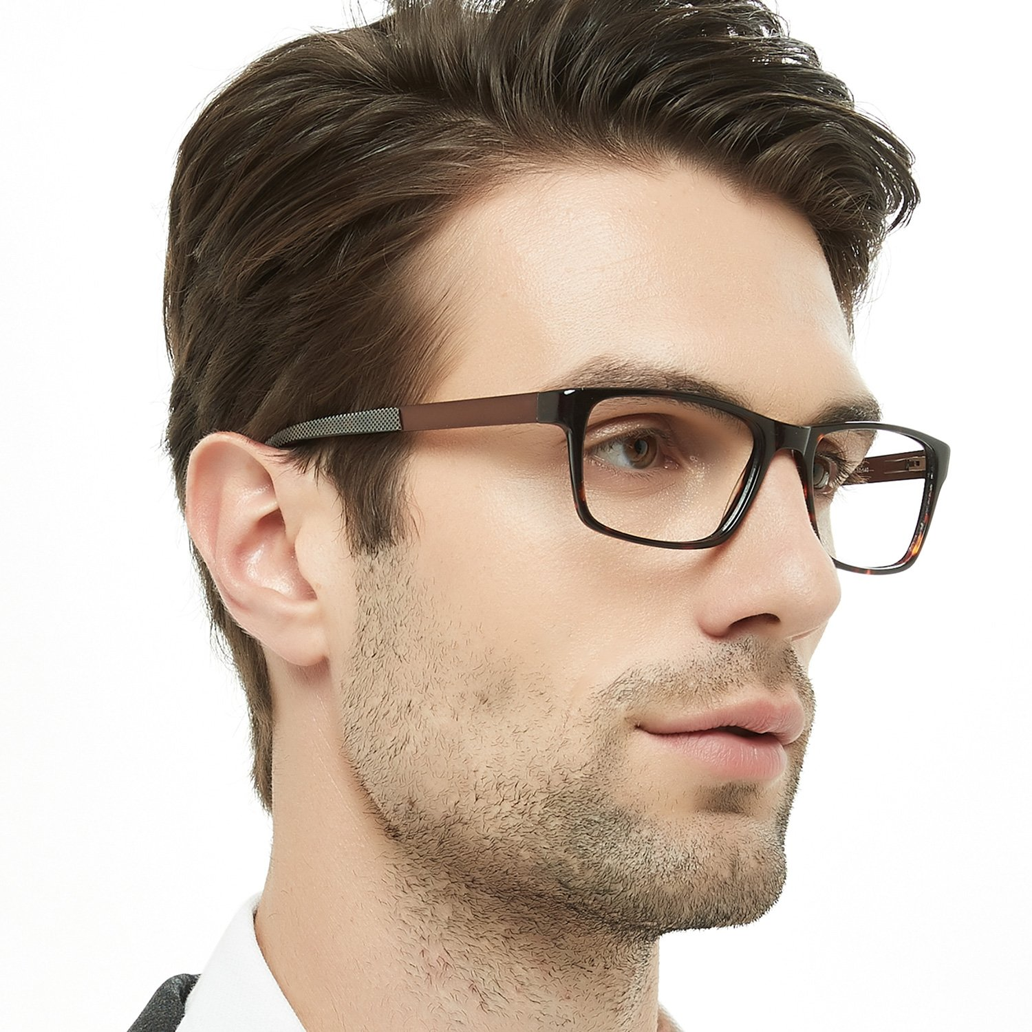 OCCI CHIARI Mens Rectangle Fashion Stylish Acetate Eyewear Frame With Clear Lens 51mm V5-QNG8-BNSU