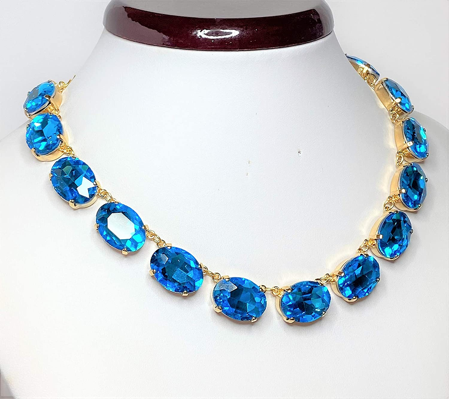 Blue Rhinestone Crystal Gold Plated Georgian Collet Necklace