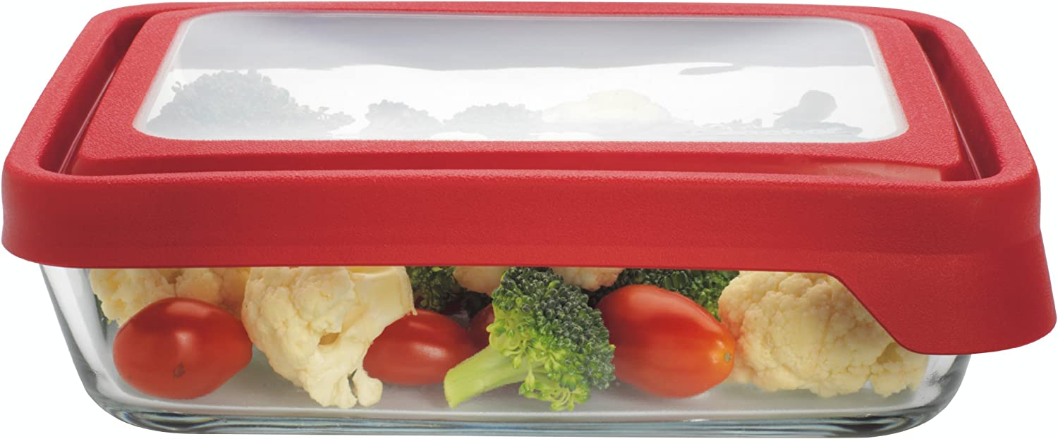 Anchor Hocking 6-Cup Rectangular Food Storage Containers with Red TrueSeal Airtight Lids, Set of 4