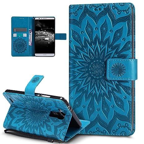 Kompatibel mit Huawei Ascend Mate 7 Hülle,Prägung Mandala Blumen Sonnenblume Muster PU Lederhülle Flip Hülle Cover Schale Stä