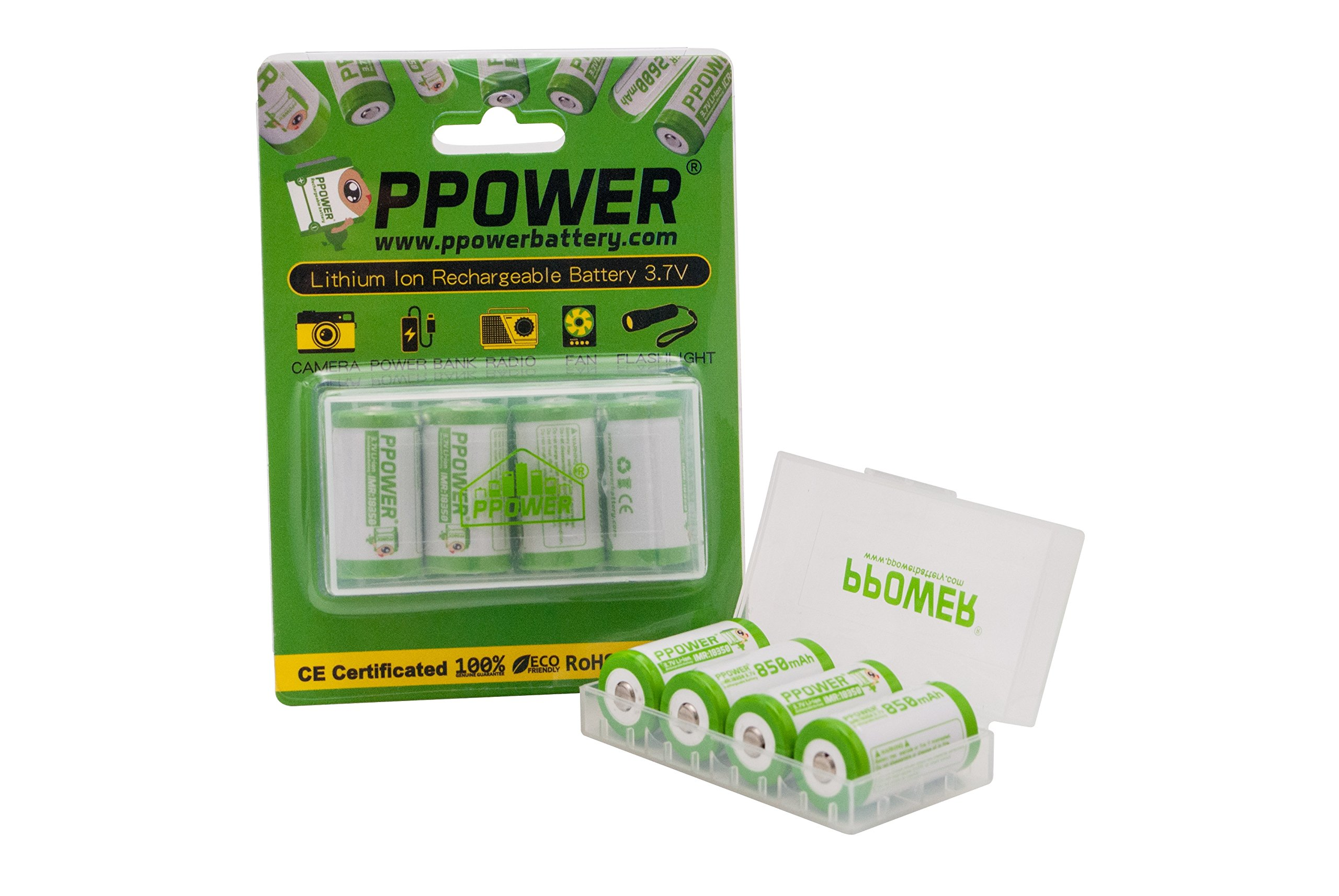 4 pieces X Ppower IMR 18350 850mah 10A high drain rechargeable Li-on battery