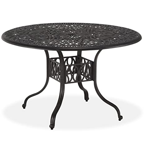 Home Styles Floral Blossom Round Dining Table, 48 Inch, Charcoal