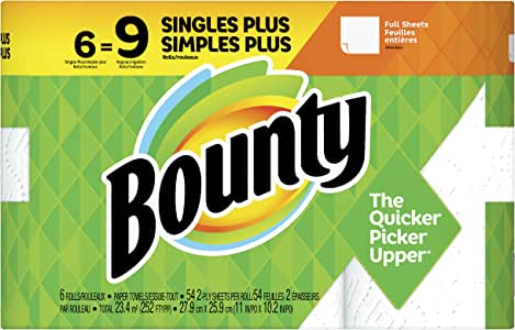 Bounty Paper Towels, White 6 Single Plus Rolls = 9 Regular Rolls, 6 count