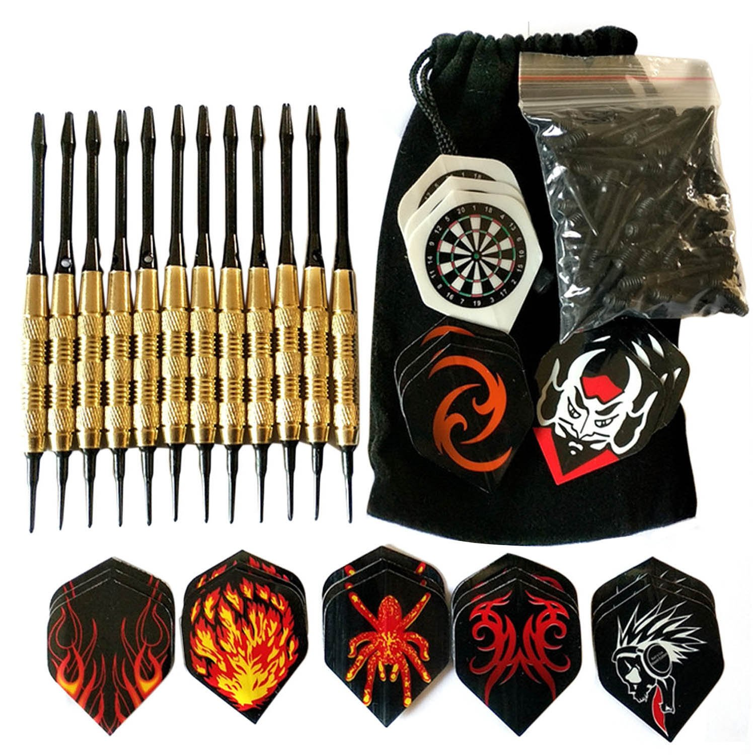 12 PCS Professional 18g 158mm Copper-plated Iron Soft Tip Darts + 100 Replacement Tips + 12 Extra Fligts Set with Storage Bag Random Styles