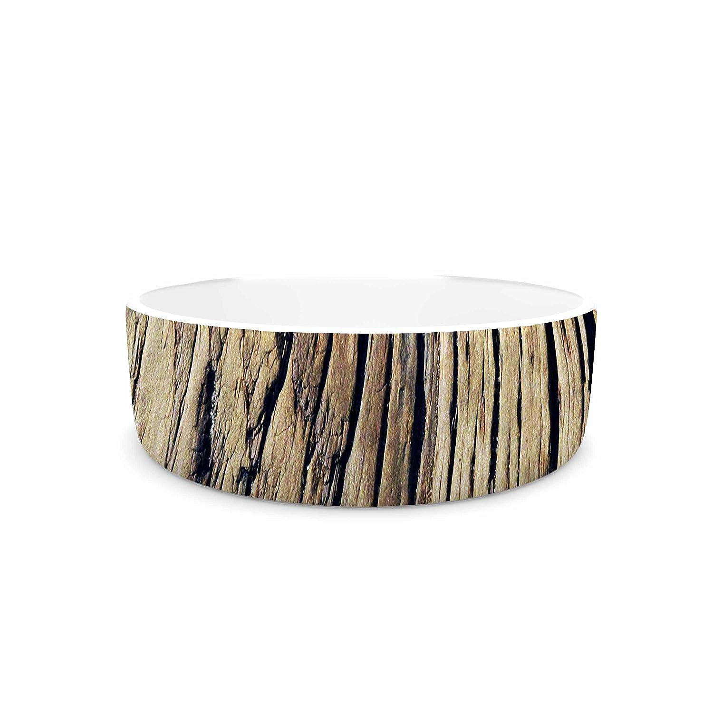 KESS InHouse Nick Nareshni Tree Bark Pattern Black Brown Photography Pet Bowl, 7  Diameter
