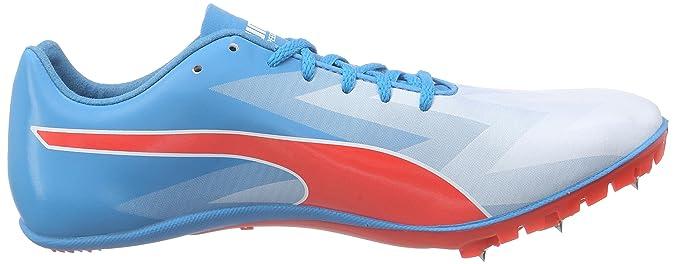 Puma evoSPEED Sprint v6 Bleue Blanche et Rouge pour Homme