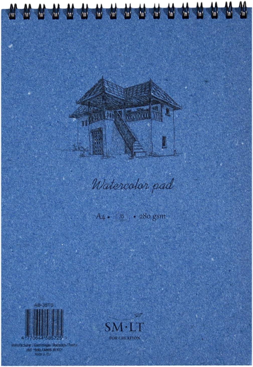 35 Pages Blue Natural White Paper SM.LT AB-35TS Authentic Line A4 Watercolour Pad 280 GSM