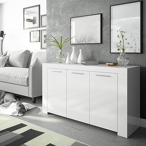 Habitdesign 006620BO - Aparador Comedor Moderno, Buffet salón, Color Blanco, Ambit