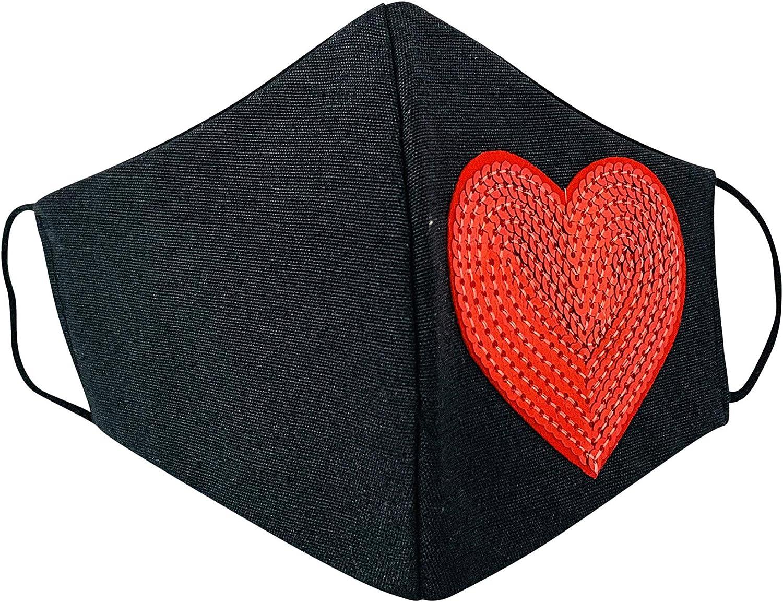 Viannchi Mascarilla reutilizable de Mujer, Talla M, color Negro con corazon brillantina rojo,protección contra el polvo, fabricada en España. Medidas 20x12x7 cm