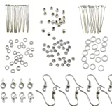 TOAOB Silver Jewellery Making Starter Kits findings Lobster Clasp Jump Rings Lobster Clasp Earring hook Spacer Beads