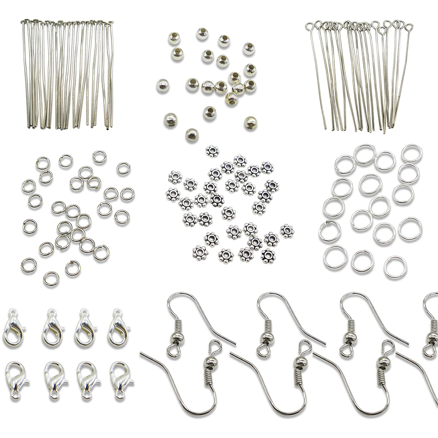 TOAOB Silver Jewelery Making Starter Kits findings Lobster Clasp Jump Rings Earring Hook Spacer Beads CLB0075