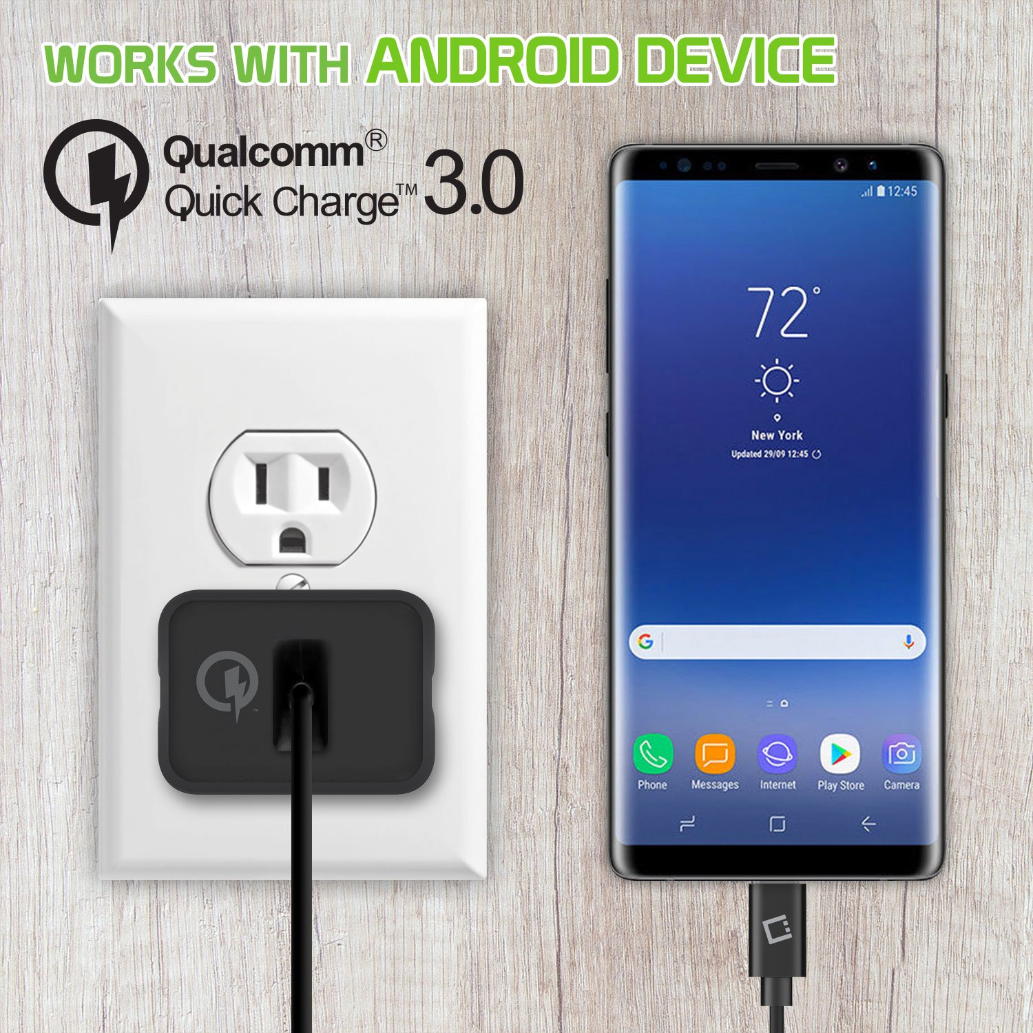 Amazon com: USB Type-C Quick Charge 3 0 Home Charger Data Cable