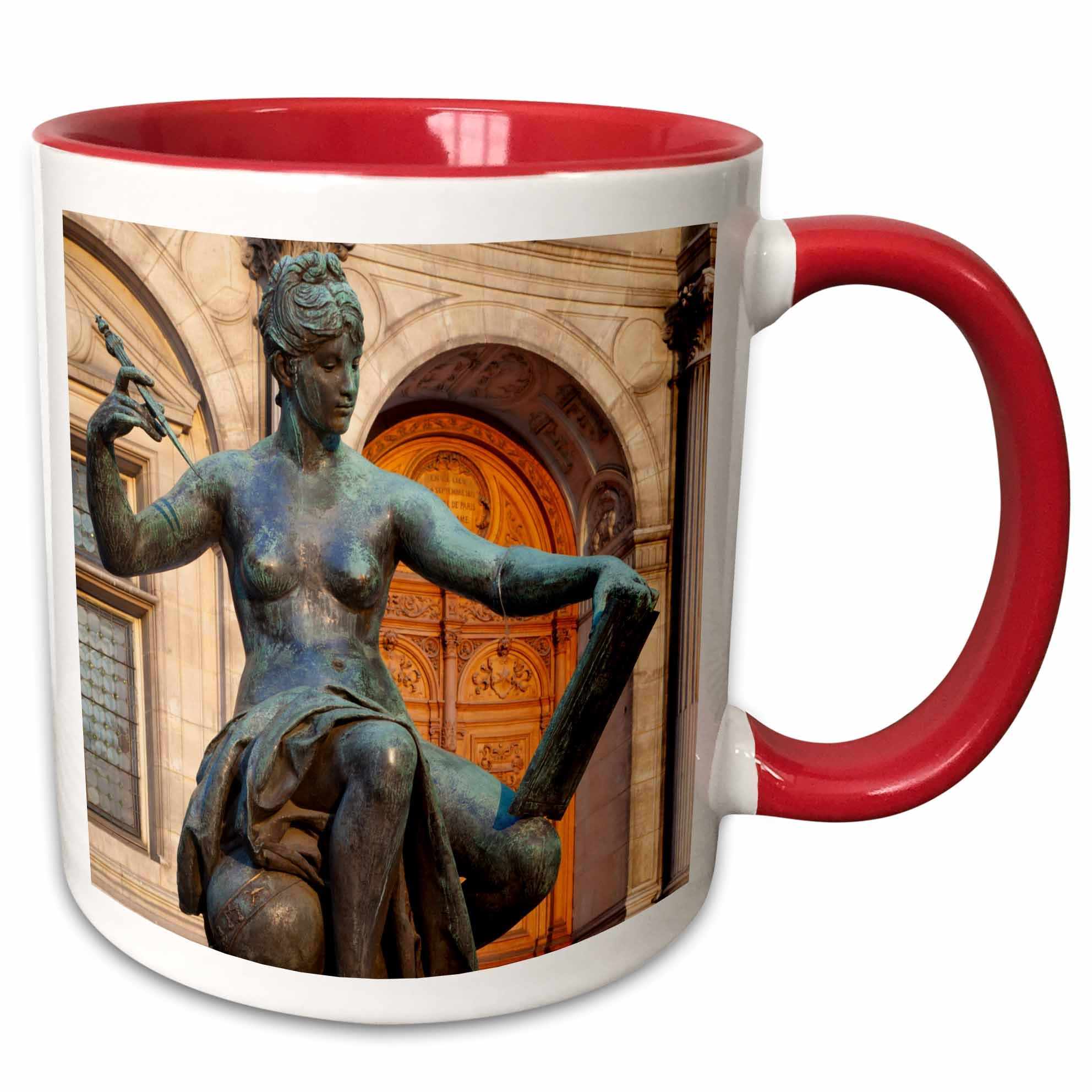 3dRose mug_187356_5 Allegorical Statue represents Science, Hotel de Ville, Paris, France - Two Tone Red Mug, 11oz