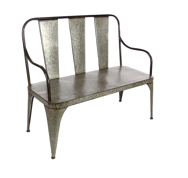 Deco 79 70568 Farmhouse Style Gray Metal Outdoor Bench 40 X 45 Inch