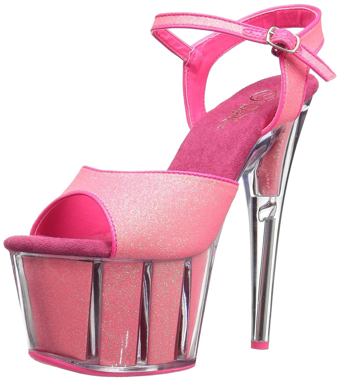 Pleaser Women's Adore-709g Sandal B01ABTB02G 8 B(M) US|Neon Pink Glitter/Neon Pink Glitter