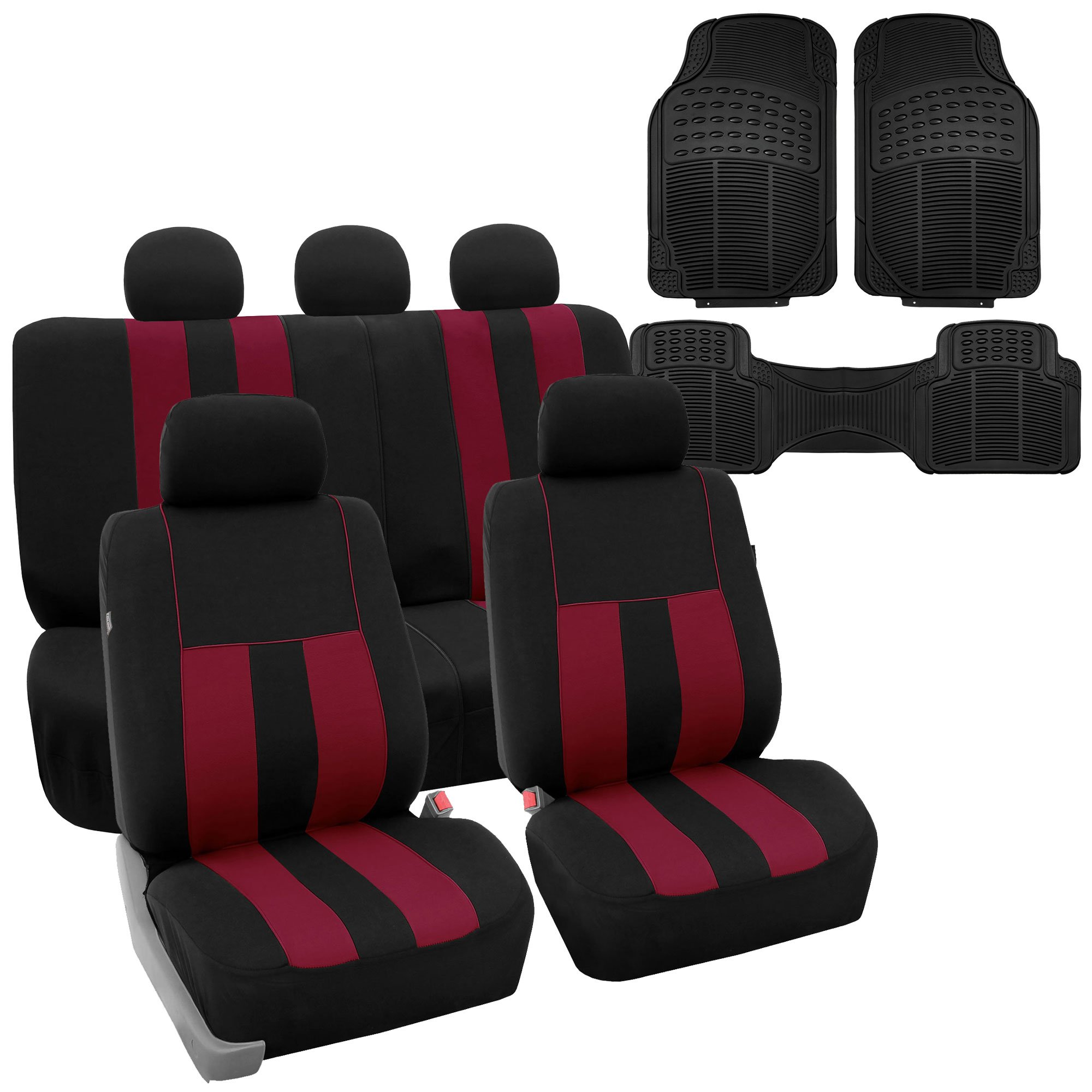 FH GROUP FB036115 Striking Striped Seat Covers, Burgundy / Black with F11306 Vinyl Floor Mats- Fit Most Car, Truck, Suv, or Van