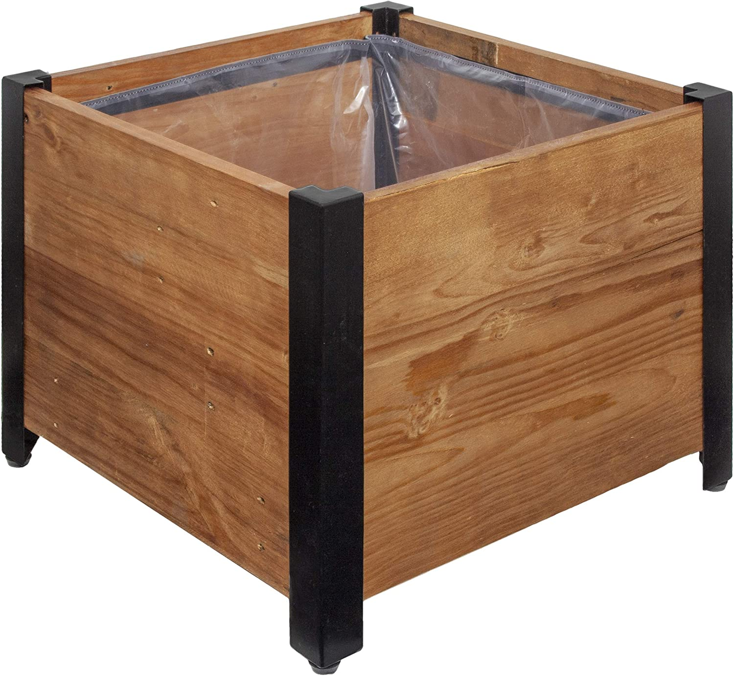 "AmazonBasics Recycled Wood Square Garden Planter - 17.75"" x 17.75"""