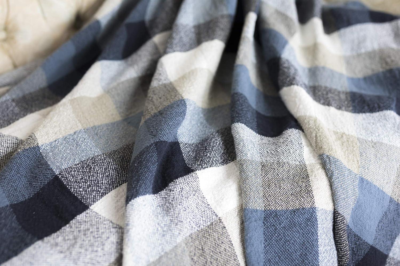 BLESS LINEN 100/% Linen Throw Blanket 87 x 83 Inches Blue//Grey Plaid