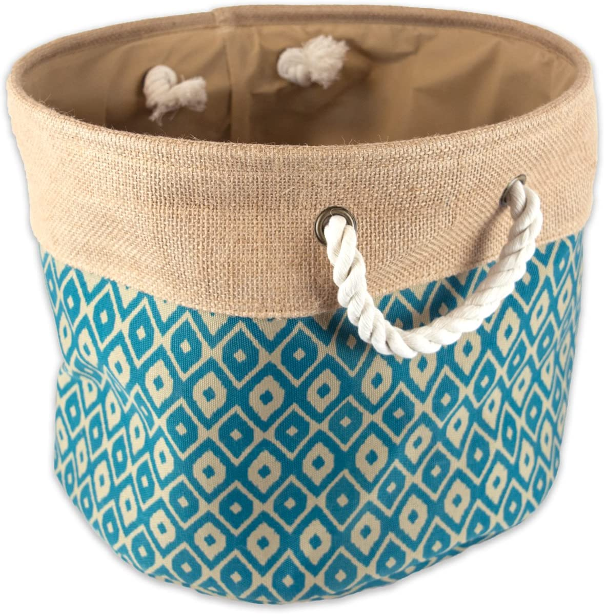 "DII Collapsible Burlap Storage Basket or Bin with Durable Cotton Handles, Home Organizational Solution for Office, Bedroom, Closet, Toys, & Laundry (Medium Round- 15x12""), Teal Ikat"
