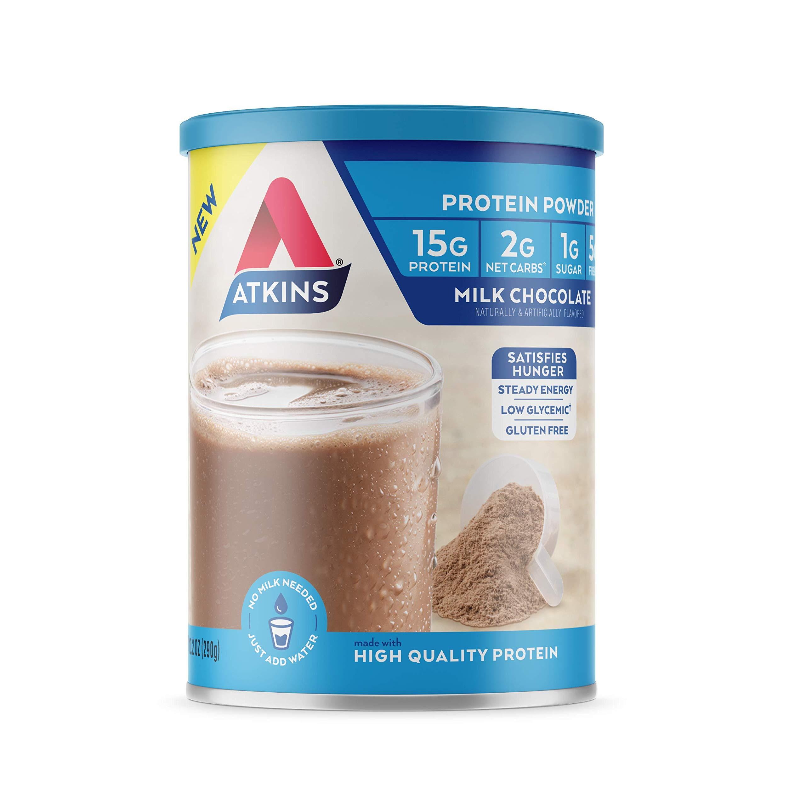 Atkins Gluten Free Protein Powder, Chocolate, Keto Friendly, 10.2 oz. by Atkins
