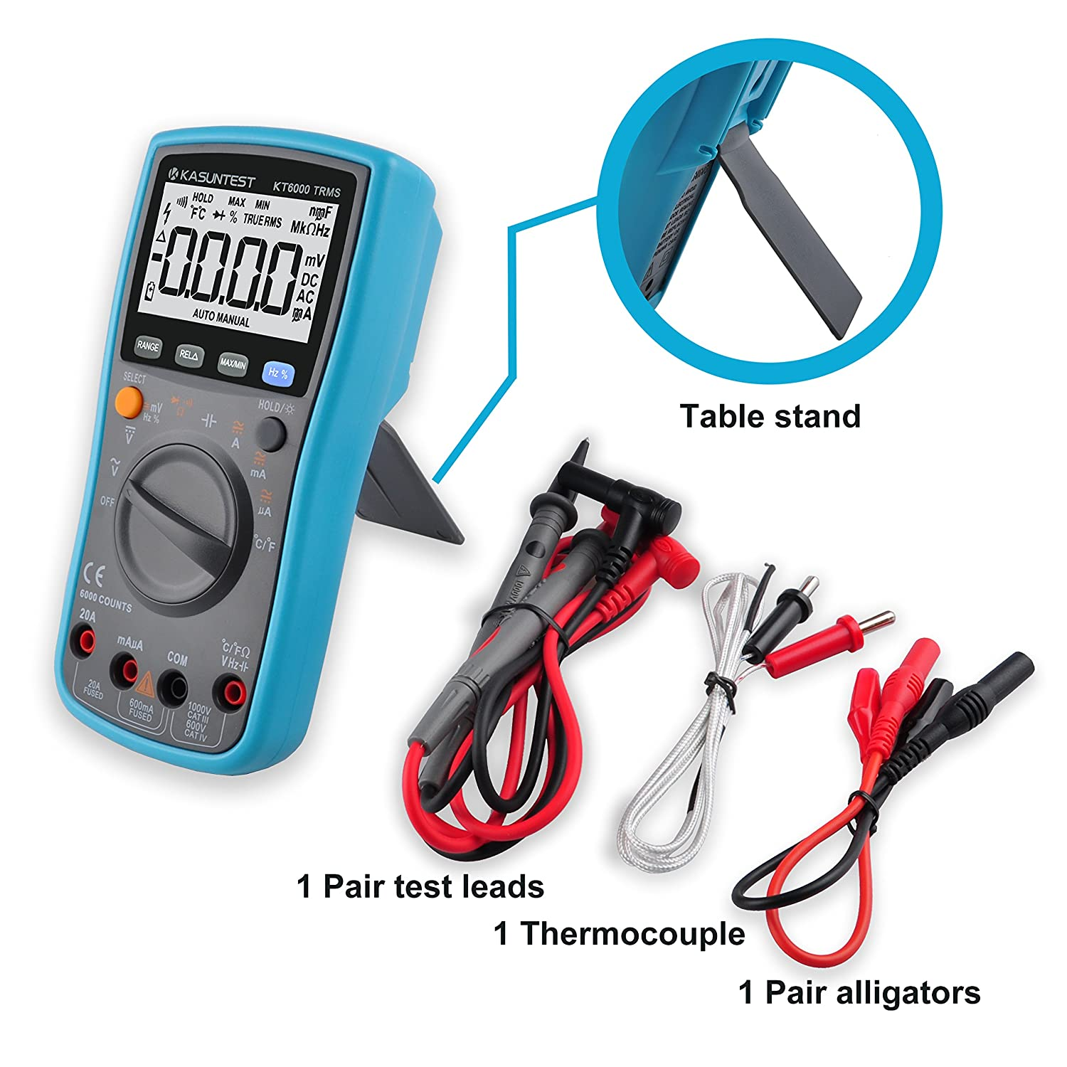Kasuntest 6000 Counts Trms Auto Ranging Digital Multimeter With How To Test Car Fuse Box Capacitance Resistance Hz Duty Cycle Temp Ac Dc Voltage Current Transistor Diode Buzzer