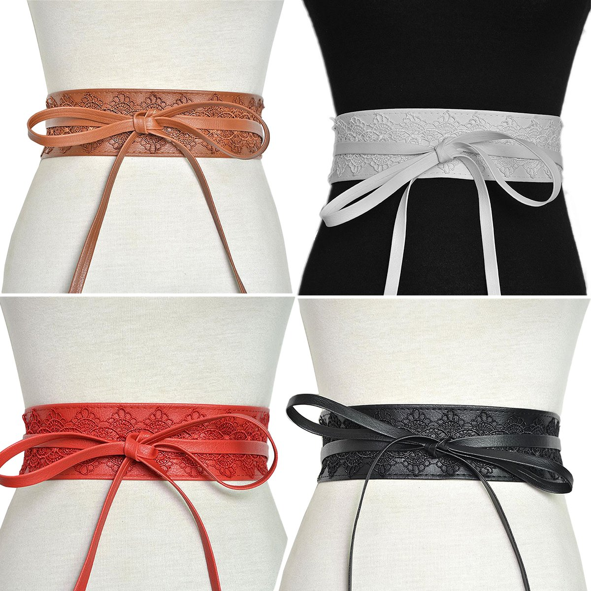 Women's Soft Leather with Lace Waist Belt Bow Tie Wrap Around Boho Corset Fashion Elegant for Dresses (White) by Hello My Life&Apparel (Image #2)