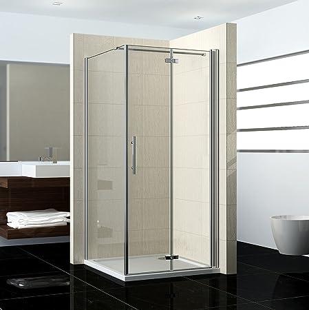 76 x 80 x 195 cm mampara de ducha cabina de ducha guardapolvo para puerta plana puerta cristal con pared lateral: Amazon.es: Hogar
