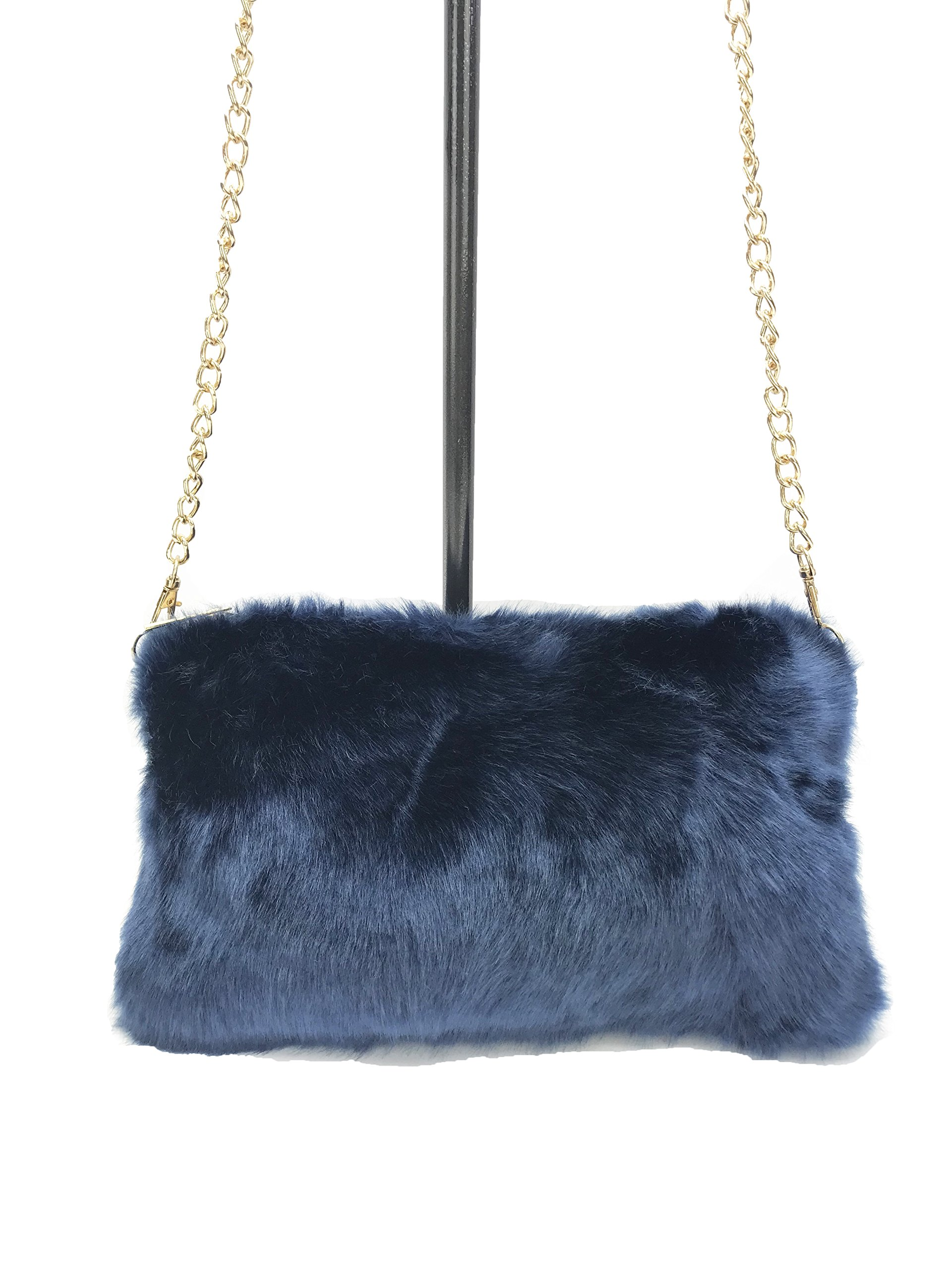 GoodCape MIA series faux fur solid color sling bag with gold chain and zipper pocket