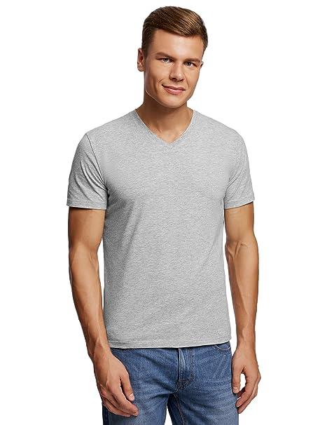 oodji Ultra Herren Tagless T-Shirt Basic, Grau, XS