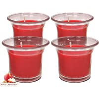 Hyoola Clear Cup Scented Votive Candles - Apple Cinnamon - 12 Hour Burn Time - 4 Pack - European Made