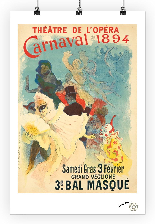 Theatre de lOpera 24x36 SIGNED Print Master Art Print - Wall Decor Poster artist: Cheret, Jules Carnaval 1894-3e Bal MasquePoster 1894 65476 France c