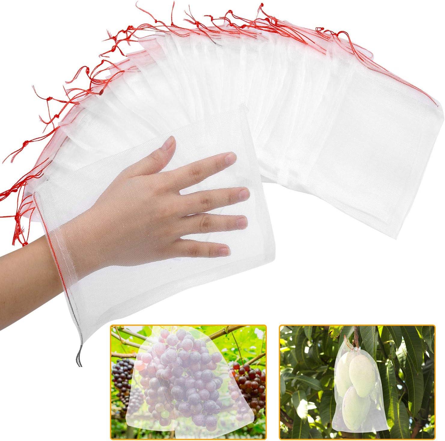 """Kikhope 50 Pcs Fruit Protection Bags, 10""""x6""""Nylon Mesh Netting Barrier Bags, Garden Plant Fruits Flower Protect Bag, Garden Netting Bag for Protecting Your Plant Fruits Flower Vegetable"""