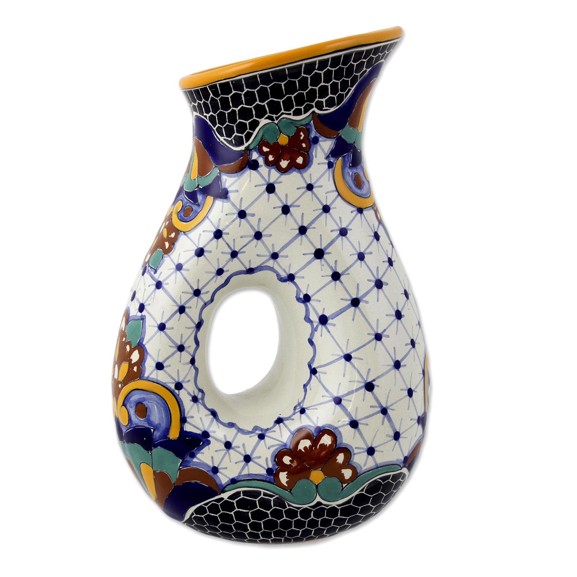 NOVICA Multicolor Floral Ceramic Pitcher, 47 oz. 'Zacatlan' by NOVICA